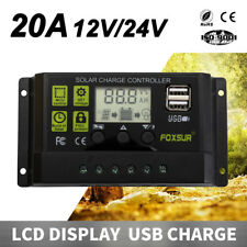 Solar Panel Battery Regulator Charge Controller 12V/24V 20A PWM LCD W/USB