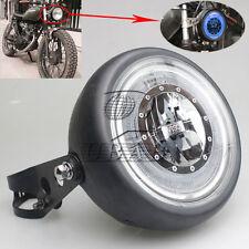 Black Metal LED Angel Eye Headlight+Mount For CG/GN125 CB200 Chopper Bobber Café