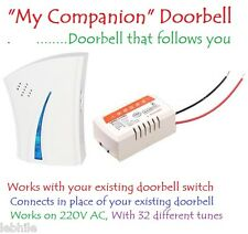 My Companion Wireless Cordless Door Bell Multi Tunes Works on 220V AC for Home