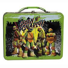 TMNT Teenage Mutant Ninja Turtles TIN School Lunch Box Case Carry-All TOTE NEW