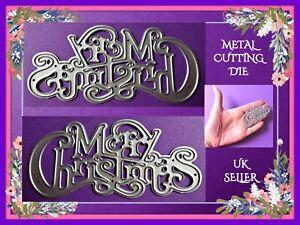 Sentiment Merry Christmas Metal Cutting Die Word Christmas Card Making DIY UK