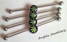 GANJA Cannabis Logo Industrial Scaffolding Bar Barbell Ear Bar Surgical Steel