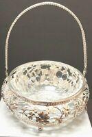 Silver / Glass serving Bowl...Basket ...candy ...
