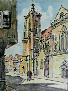 Signed Osterrieder Dated 1941 - Church IN One City