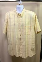 PENDLETON Men's Cotton Yellow Blue Plaid Windowpane Short Sleeve Shirt XL