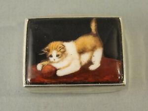 Fine Sterling Silver & Picture Enamel CAT / KITTEN PILL BOX London c2000
