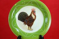"""Baum Brothers ROOSTER STRUT COLLECTION SALAD PLATES Set of 4 Style Eyes 8"""""""