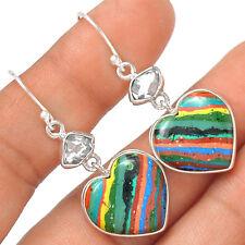 Heart - Rainbow Calsilica & Herkimer Diamond 925 Silver Earrings EE20273