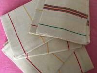 VINTAGE FRENCH UNUSED LINEN METIS TORCHON TEA TOWEL RED YELLOW & GREEN STRIPES