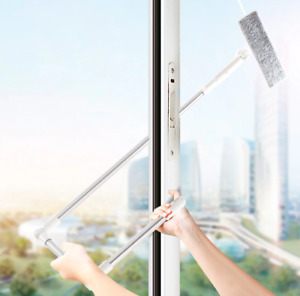 Window Glass Cleaning Brush Adjustable Extension Pole Microfibre Cloth Squeegee
