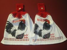 LOT OF 2 FARM HOUSE CHICKEN EGGS CROCHET TOP KITCHEN BATH HAND TOWELS HAND MADE