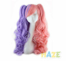 Anime Lolita Wig women Long Wavy cosplay wigs 2 Clip On In Ponytails mixed color