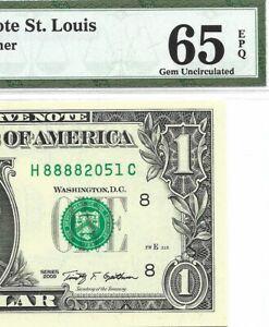 2009 $1 ST LOUIS FRN, PMG GEM UNCIRCULATED 65 EPQ BANKNOTE, NICE SERIAL NUMBER