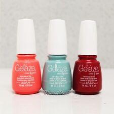 Gelaze Geláze China Glaze LED UV Nail Gel Polish SET OF 3 Colors 15 mL/ 0.5 oz