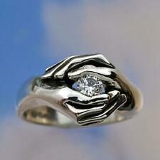 Vintage 925 Silver White Sapphire Hand Ring Women Men Wedding Jewelry Size 6-10