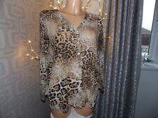 Leopard Print Blouse Shirt Top V Neck Size Medium
