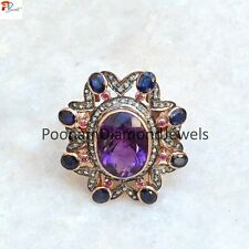 Amethyst Sapphire Gemstone Ring Pave Diamond Cocktail Ring 925 Solid Silver Ring