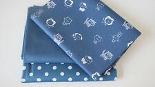 Öko-Tex Baumwollstoff  3 x 50 x 140/150 Tiere  + Punkte + uni indigoblau
