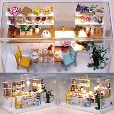 DIY 3D Wooden Light Doll Houses Miniature Kit Kids Toy Gift with Cover LED New