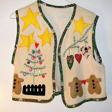 Women's hand made Christmas Vest approx size Med Gingerbread tree stars buttons
