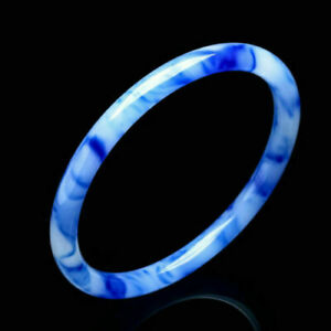 Chinese Hand Carved Beautiful Blue Gold Silk Jade Jewelry Bracelet Bangle 62mm