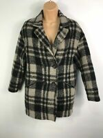 WOMENS ASTRADIVARIUS BLACK AND GREY DOUBLE BREASTED CHECK COAT SIZE S