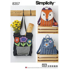 Simplicity Pattern 8357 Rag Quilted Bags~Fox/Flowers
