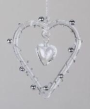 886521 Pendientes de cristal Corazón con Perlas girnaldas 10cm de transparente