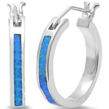 Medium Blue Opal Hoop .925 Sterling Silver Earrings