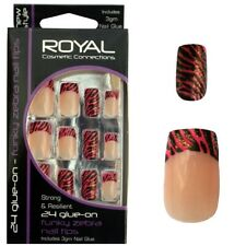 24 faux ongles rose & noir french manucure zèbre - de Royal Funky Zebra