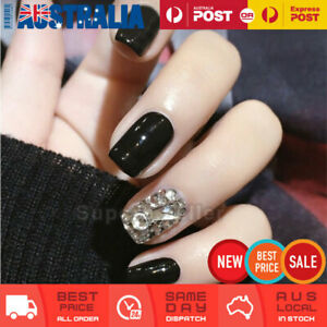 24pc Short Black Silver Fake Nail Tips Glue On False Press On Artificial AU NEW