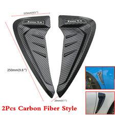 Universal 2Pcs 3D Carbon Fiber Car Side Wing Air Vent Fender Sticker Cover Trim