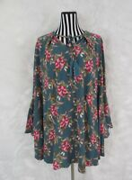 UMGEE Blue Floral Print Bell Sleeve Boho Chic Dress Size M