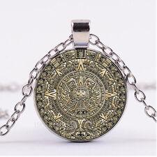 NEW Cabochon Glass necklace Silver/Bronze/Black pendant:Aztec Calendar Wheel