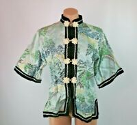 Vintage Jacket Japanese Button Up Mandarin Blue Embroidered Kimono Qipao collar