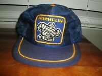 VINTAGE MICHELIN MAN MESH TUCKER CAP SNAPBACK PATCH BLUE SWINGSTER MADE IN USA