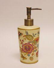 Beige Multi Color Floral Design+Gold Trim,Butterfly, Resin Soap+Lotion Dispenser