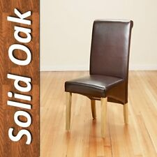 PU Leather Dinning Chairs with Oak Legs High Back,Black/Brown Dining Room Modern