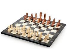 Wunderschöne Klappbares Marmor Optik Schach Spiel mit Massiv Holz Schachfiguren