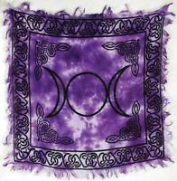 "Altar Cloth Triple Moon Altar Cloth 18"" x 18"" Pentacle Tarot Cloth Pagan Witch"
