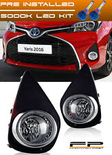 2015-2017 Toyota Yaris LED Clear Fog Light Lamp Complete Kit With Switch+Harness