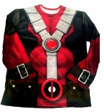 Men's Marvel Deadpool Costume Long Sleeve Shirt Adult Comics Book Superhero STD