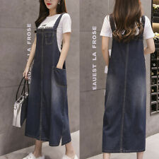 New Women's Fashion Loose Sling Denim Skirt Dungaree Overall Jeans Long Dresses