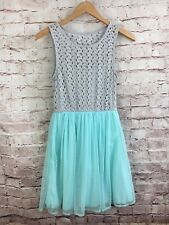 City Triangles Dress Lace Gray Top Tulle Mint Sleeveless Size S