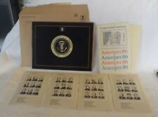 1986 Ameripex Presidents Usa Stamp Show Set of 36 Stamps W/Book Chicago, Il New