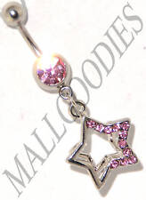 B027 Surgical Steel Belly Naval Ring 2D Star Shape Design Short Dangly Pink Cute