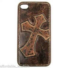 iPhone 4 4S Cover ~ Tool LEATHER CROSS ~ Protective Case Hardback Western Cowboy
