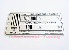 PLATE SUMMARY DATA FIAT 600 FRAME 100 ENGINE 100.000 C287