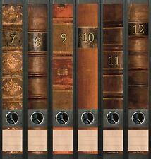 6 Ordnerrücken Bücher 7 - 12 Lexikon Ordner Ordneraufkleber Aufkleber Deko 610
