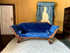 Vintage Artisan-crafted 1:12 Scale Dollhouse Victorian Style Sofa, Rich Blue